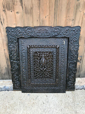Beautiful Old Ornate Cast Iron Fireplace Surround & Summer Cover, Free S/H