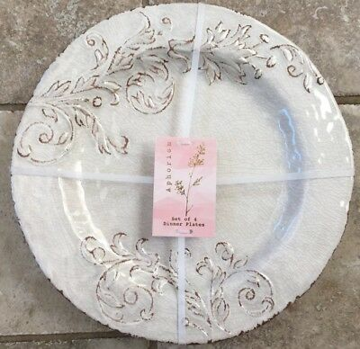 Aphorism Cream Rustic Floral Print MELAMINE Dinner Plates Set 4 Match Il Mulino : printing on dinner plates - pezcame.com