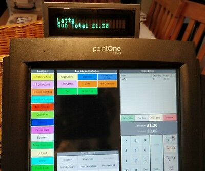 EPOS Till system touch screen includes printer, keyboard, cash drawer. Cafe