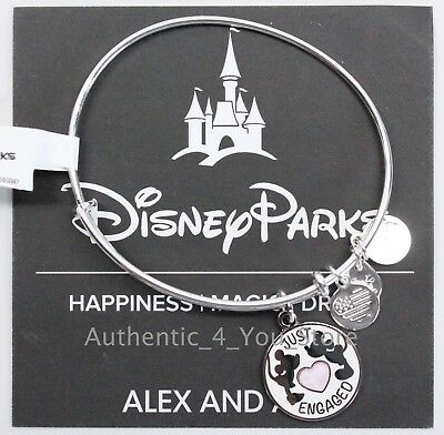 NEW Disney Parks ALEX AND ANI Just Engaged Mickey & Minnie SILVER Bracelet