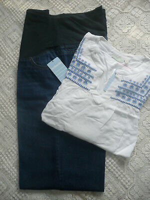 BNWT JoJo Maman Bebe Maternity Cropped Jeans+White Embroidered Blouse/ Size 16