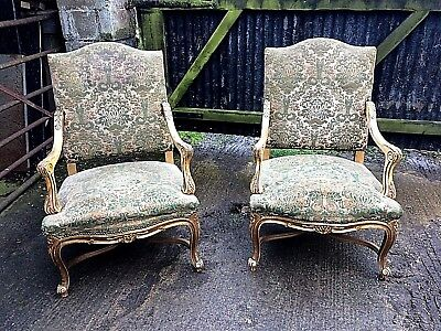 Pair Of French Decorated Open Armchairs