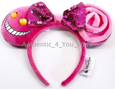 NEW Disney Parks Alice in Wonderland Cheshire Cat Pink Minnie Mouse Ear Headband