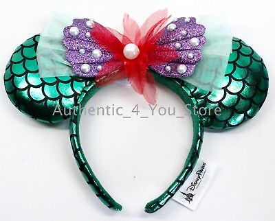 NEW Disney Parks The Little Mermaid Ariel Green Minnie Mouse Ear Headband