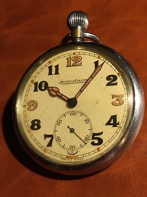 Vintage Jaeger Lecoultre British Issue Military Pocket Watch G.S.T.P Working