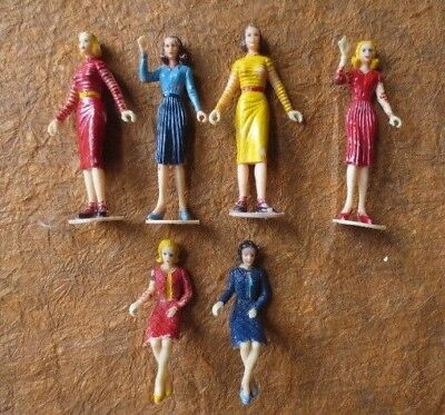 lot 6 vintage miniature plastic model lady dolls figurines toys -cake toppers?