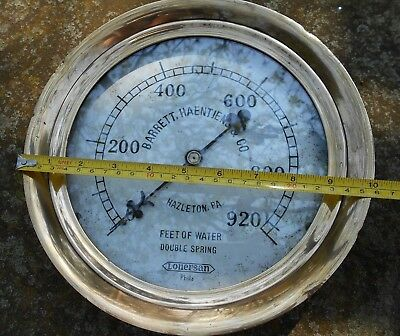 Antique Vintage Rare Lonergan Steam Gauge Brass Cast Iron Steampunk 10""