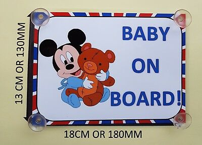 Mickey Mouse Baby On Board Car Laminated Sign