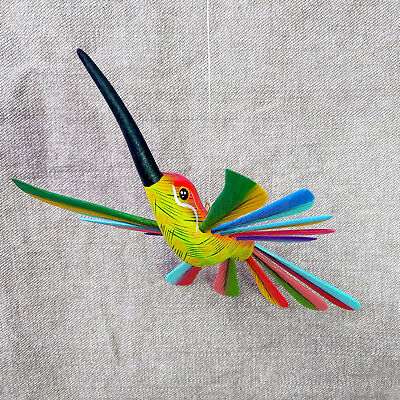 Gorgeous Oaxacan Wood Carving Hanging Hummingbird Alebrije. Mexican Folk Art.