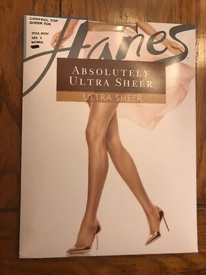 24b104838 Size E Hanes Absolutely Ultra Sheer Natural Control Top Sheer Toe Panty  Hose New