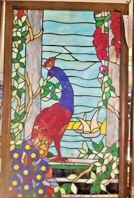 Leaded stained glass window colorful Red & Blue Big Bold & Beautiful Peacock