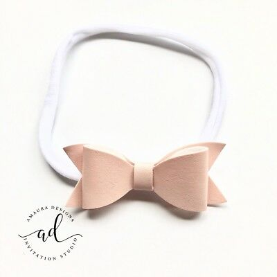 Newborn Baby Girl Toddler Hair Bow Headband Hair Band Pink Faux Leather Bow