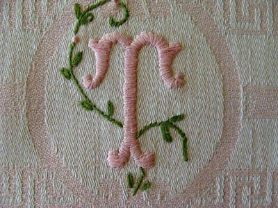 FAB Vintage PINK Damask Show Towel Hand Embr FANCY T Monogram Washstand or Bath