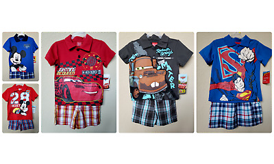 *nwt- Disney/dc Comics - Baby Toddler Boy's Licensed Polo Shorts Set