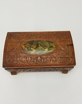 *vintage* 1950's Carved Wooden Cedar Jewelry Box With Scene