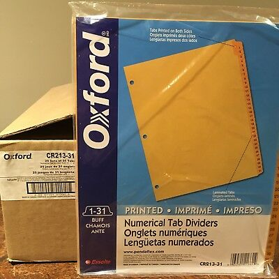 "(25 sets) Oxford Numbered 1-31 Tab Dividers 11x17"" Buff Double Sided CR213-31"