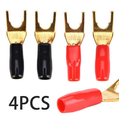 4x Gold Plated Brass Fork Banana Y Spade Plug Solderless Speaker Cable Connector