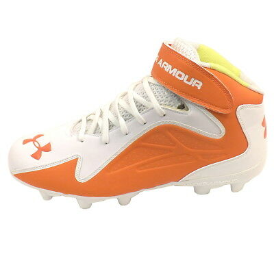 7d13dd8bb NEW Mens UA Under Armour Team Renegade MC Football Cleats White   Orange Sz  14 M