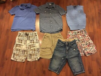 Boys Size 7 8 Lot Ralph Lauren Gap Old Navy Polo Shirts Shorts Pealr Snap Vest