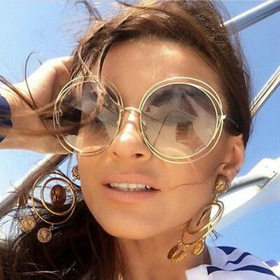 Oversized Round Sunglasses Vintage Women Large Size Big Retro Mirror Sun Glasses