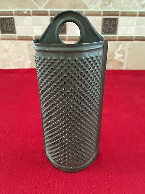 Antique Punched Tin Half-Round Cheese and Food Grater, 1800's, Great!