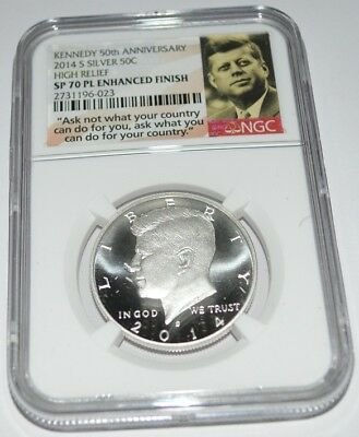 2014-S Kennedy 50Th Anniversary 50C Silver Enhanced Finish Sp70 Pl Ngc