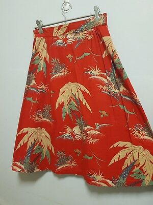 vintage red a line skirt xs tropical beach pineapple novelty print retro