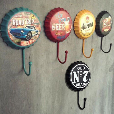 1PC Metal Sign Tin Beer Bottle Cap Cover Hook For Pub Bar Club Cafe Wall Decor#