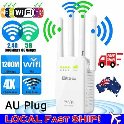 New 1200Mbps 5G Dual Band Wireless Router 4 Antenna Range Extender WiFi Repeater