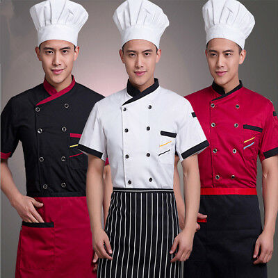 New Unisex Chef Coat Summer Short Sleeve Restaurant Working Uniform Cook Clothes