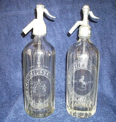 2 x Vintage Soda Mineral Water Syphons Siphon SCHWEPPES and TOOTH & CO
