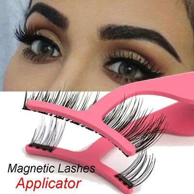Stainless Steel Magnetic False Eyelash Tweezers Applicator Clip Makeup Tool All