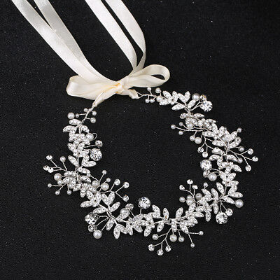Wedding Bridal Silver Leaves Pearl Headband Hair Vine Hairpiece with Ribbon Belt