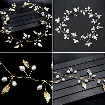 Hair Vine Wedding Bridal Imitation Pearls Headband Headpiece Silver Gold Leaves