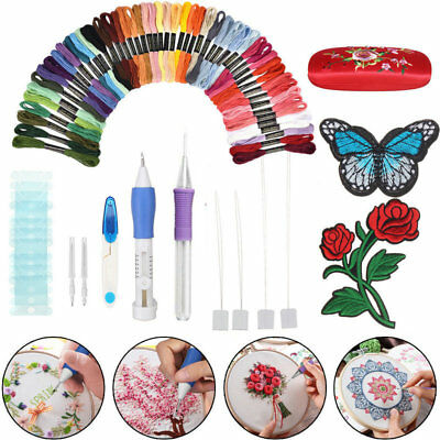 62 in 1 Embroidery Needle Pen Kit Set Craft Punch Magic DIY Knitting + 50 Thread