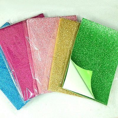 10PC Adhesive Glitter Scrapbooking Paper Vinyl Sticker Art Sheets DIY Craft NEW