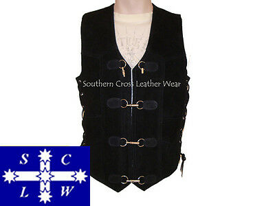 Men's SUEDE Motorcycle Vest with Push/Pull Metal Fitting