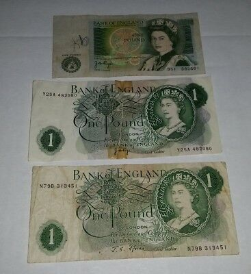 3 x old UK English 1 Pound notes all from different series Bank of England