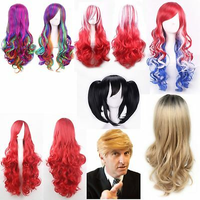 Fancy Dress Wigs Donald Trump Red White Blue USA Mermaid Unicorn England Long