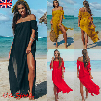 Women Summer Beach Off Shoulder Split Maxi Dress Swimwear Cover Up Kaftan Dress