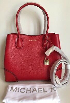 945cc9dc1fb7 Michael Kors Mercer Gallery Medium Leather Satchel Bright Red  298(sale)
