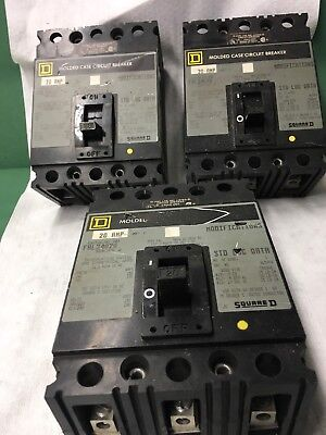 USED LOT OF 3 Square D FAL34020 Molded Case Circuit Breaker 20 Amps 480VAC