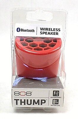 808 Thump Wireless Speaker in Red Rechargeable 6 Hour Battery Life Bluetooth NEW