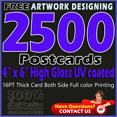 "2500 Postcards Printing 4""x6"" Full Color 2 Sides - 16pt-UV coated-Free Designing"
