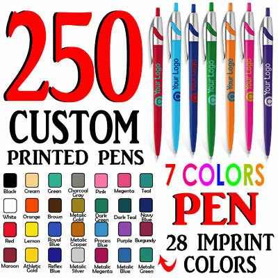 250 Custom Printed Ball point pen clicks with Your Logo or Message-Free Shipping