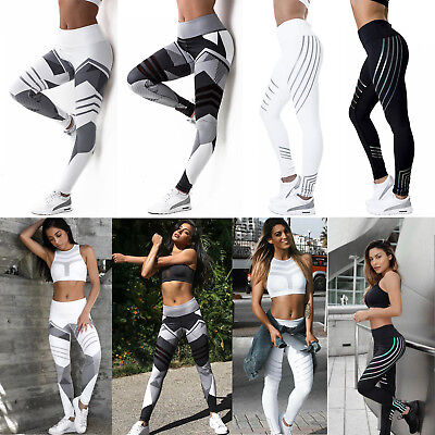 Womens Sports Yoga Leggings Fitness Gym Exercise Running Jogging Pants Trouser