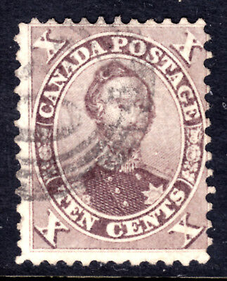 CANADA #17b 10c BROWN, 1859 FIRST CENTS PERF12x11.5, VG, 4-RING30