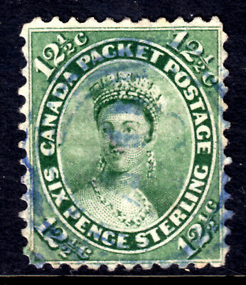 CANADA #18a 12-1/2c BLUE GREEN, 1859 FIRST CENTS PERF11.5, VF, 4-RING NUMERAL