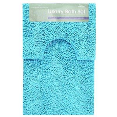 Luxury Chunky Loop Bath Mat Pedestal 2 Pcs Bath Sets and Bath Mat Bathroom Rug