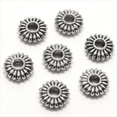 Lot de 40 Perles Intercalaires Rondelles en Métal 8x3mm style Tibétain